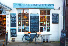 Wine shop and bike parked by the side,  Cambridge Royalty Free Stock Photography