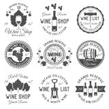 Wine Shop Black White Emblems. With leaves and bunches of grapes wooden barrels glassware isolated vector illustration stock illustration