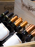 Wine shop. The bottle of . wines on display in the chest box. Royalty Free Stock Photo