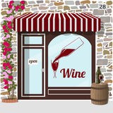 Wine shop building. Facade of stone. barrel with bottle and glass on it at the fore. Vector illustration EPS10 Stock Photo