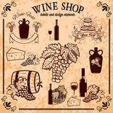 Wine shop labels and design elements Royalty Free Stock Image