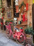 Wine shop in Montefalco medieval town in Italy. View of a store that sells wines known as Sagrantino. The Sagrantino wines are produced in the area of Montefalco stock photo