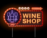 Wine shop neon sign Royalty Free Stock Images
