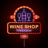 Wine shop neon sign Royalty Free Stock Photography