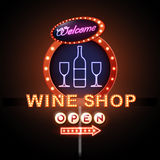 Wine shop neon sign. Illustration of Wine shop neon sign Stock Photos