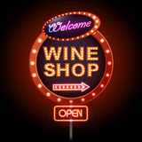 Wine shop neon sign Stock Photography