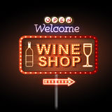 Wine shop neon sign Stock Images
