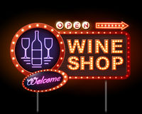 Wine shop neon sign Royalty Free Stock Image