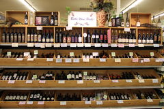 Wine Shop. Shelves with wine in shop Stock Image