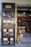 Wine shop in Tuscany, Italy. Typical enoteca (wine cellar) in Tuscany. This is in Montalcino, near Siena, Italy. In Montalcino is produced the famous Brunello di royalty free stock photo