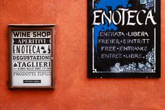 Wine shops` signs for tasting and food stock photography