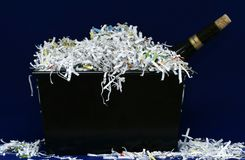 Wine And Shredded Paper. Isolated wine and shredded paper Stock Images