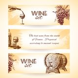 Wine sketch banners Royalty Free Stock Photos