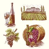 Wine sketch decorative set Royalty Free Stock Photography