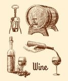 Wine sketch decorative set Royalty Free Stock Image