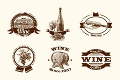 Wine sketch labels Stock Images