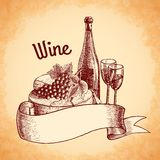 Wine sketch poster Royalty Free Stock Image