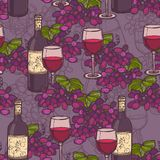 Wine sketch seamless pattern Royalty Free Stock Photo