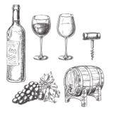 Wine sketch vector illustration. Bottle, glasses, grape vine, barrel, corkscrew, hand drawn isolated design elements. Wine sketch vector illustration. Bottle stock illustration