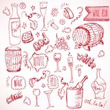Wine sketch and vintage doodles Stock Photo
