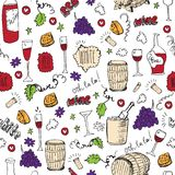 Wine sketch and vintage illustration. With colored elements Royalty Free Stock Photos