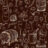Wine sketch and vintage illustration. On dark background Royalty Free Stock Photos
