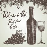 Wine sketch and vintage illustration. Isolated on brown background Stock Photo