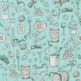 Wine sketch and vintage illustration. Seamless pattern Stock Image
