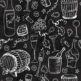 Wine sketch and vintage illustration. White elements on dark background Stock Photography