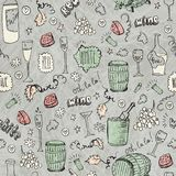 Wine sketch vintage seamless illustration Stock Image