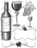 Wine Sketches Stock Images