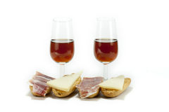 Wine and snack Stock Photography