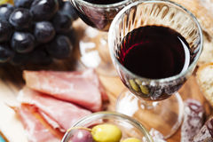 Wine and snacks Royalty Free Stock Photography