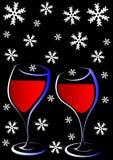 Wine on snow Stock Photo