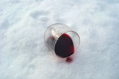 The wine in the snow stock images