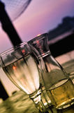 Wine and soda. Restaurant on the river,with sunset Stock Images