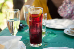 Wine with soda glass in restaurante table Royalty Free Stock Images
