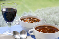 Wine and Soup Royalty Free Stock Photos