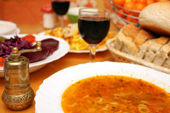 Wine soup food and grinder Stock Photos