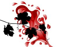 Wine splash. Red wine and leaves -  illustration Royalty Free Stock Photos