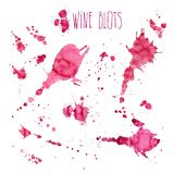 Wine splash and blots concept. Isolated on white background Royalty Free Stock Images