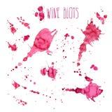 Wine splash and blots concept. Isolated on white background stock illustration