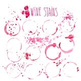 Wine splash and blots concept. Isolated on white background Stock Photos