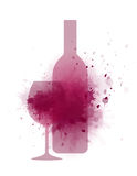 Wine splash, bottle and glass Stock Photography