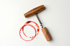 Wine Stain and Antique Corkscrew Royalty Free Stock Images