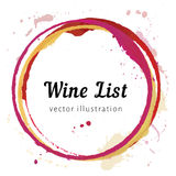 Wine stain circles. Vector set of Wine stain circles, splashes and spot isolated on white background for wine list. Watercolor hand drawing glass marks royalty free illustration