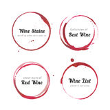 Wine stain circles. Vector set of Wine stain circles, splashes and spot isolated on white background for logo design. Watercolor hand drawing glass marks royalty free illustration
