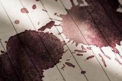 Wine Stain on Paper Macro Image Stock Photos