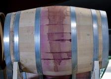 Wine stained Oak wine barrel. Oak wine keg stained purple from wine Royalty Free Stock Photos