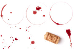 Wine stains and cork Stock Photos